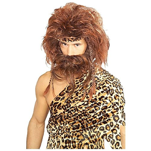 [Bushy Caveman Costume Wig & Beard Adult Mens Brown Wild Man Barbarian Halloween] (Child Cave Girl Cutie Costumes)