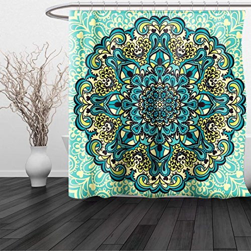 uhgfyjdd874 Shower Curtain Ethnic Abstract Decorative Flower in Mandala Style Nature Elements Vibrant Decorative Turquoise Teal Light Yellow