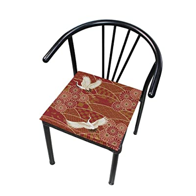 """Bardic HNTGHX Outdoor/Indoor Chair Cushion Japanese Crane Flower Square Memory Foam Seat Pads Cushion for Patio Dining, 16"""" x 16"""": Home & Kitchen"""