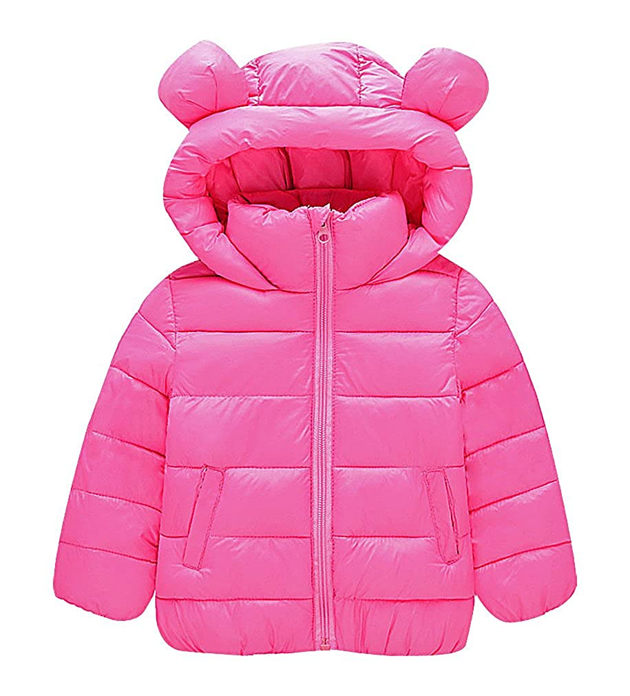 BPrincess Kids Solid Color Quilted Zip Up Bear Ears On Hood Cotton Filled Parka