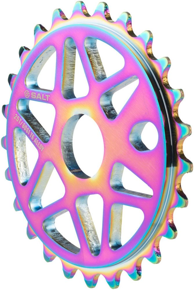 Salt Comp Sprocket 25t Oilslick 23.8mm Spindle Hole with Adaptors for 19mm
