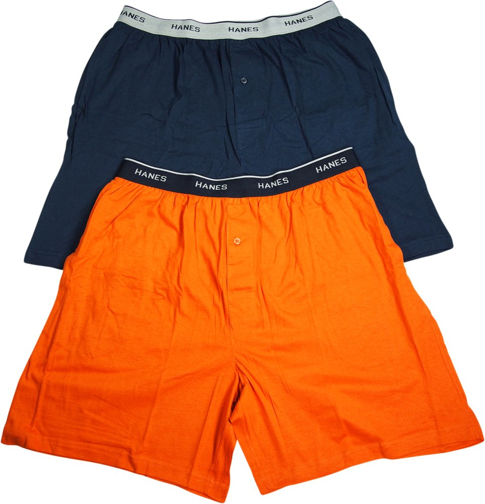 Hanes Mens Jersey Lounge Shorts with Logo Waistband, Orange Curry/Bright Navy, Pack 2 40115-Small
