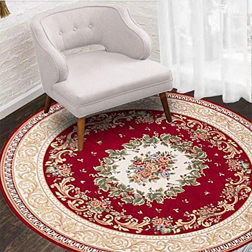 Hihome Antique Classic Red 5' Round Area Rug with Traditional Christmas Match Colors and Floral Pattern Area Rug for Living Dining Room Bedroom Hallway Office Carpet Easy Clean Rug