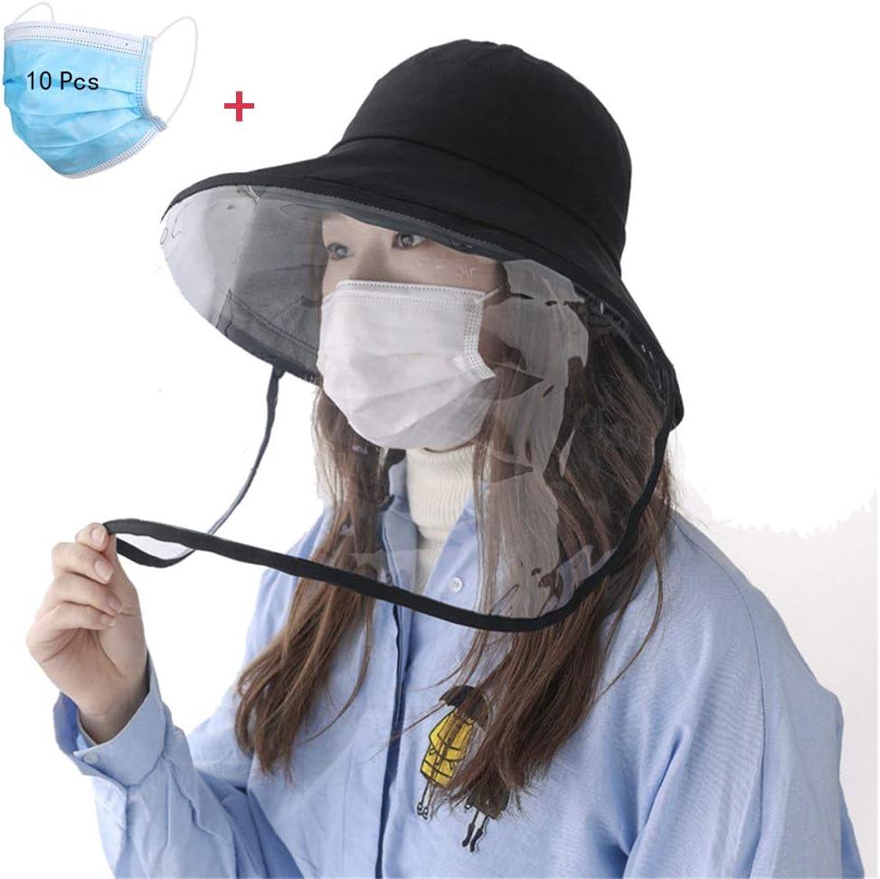 バケットサンハット男性用および女性用フルフェイス保護キャップ、防曇、防唾、防風防塵