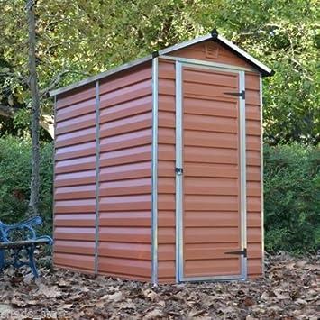 6x4 Plastic Garden Shed ♢ Skylight Storage Sheds ♢ Palram Amber Building ♢