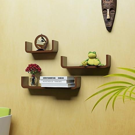 Woodkartindia Fancy Design U Shape Wall Shelf Brown Wall Rack Book