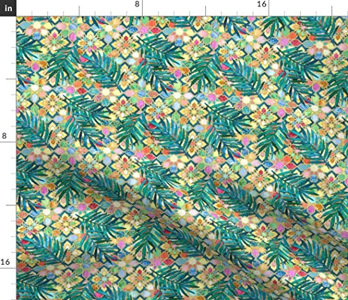 Spoonflower Tropical Floral Fabric - Moroccan Moroccan Geometric Tiles Tropical Palm Watercolor Floral Print on Fabric by The Yard - Petal Signature Cotton for Sewing Quilting Apparel Crafts Decor