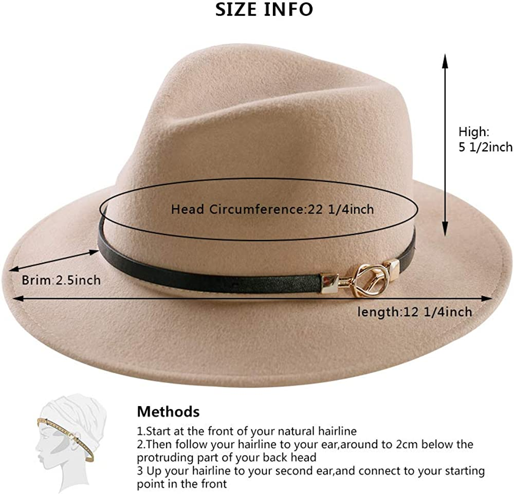 Womens Fedora Hat 100/% Wool Wide Brim Felt Panama Sun Hats Vintage Trilby Cap with Buckle