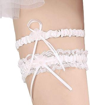 f0e1e094e8a Amazon.com  Lace Wedding Garters for Bride Pearl Stretch Prom Garter ...