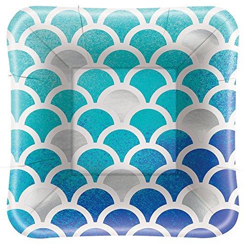 Foil Ocean Blue Scallop Square Paper Appetizer Plates, (Ocean Blue Dessert)