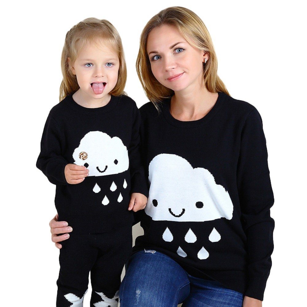 Hankyky Family Matching Mother Daughter Cloud Print Knitwear Long Sleeve Pulover Tops Sweatshirts
