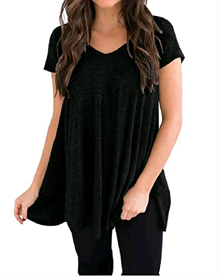 d571222fe62 Comaba Women V-Neck Baggy Solid Color Plus Size Short Sleeve Stylish Tunic  Top Tees at Amazon Women's Clothing store: