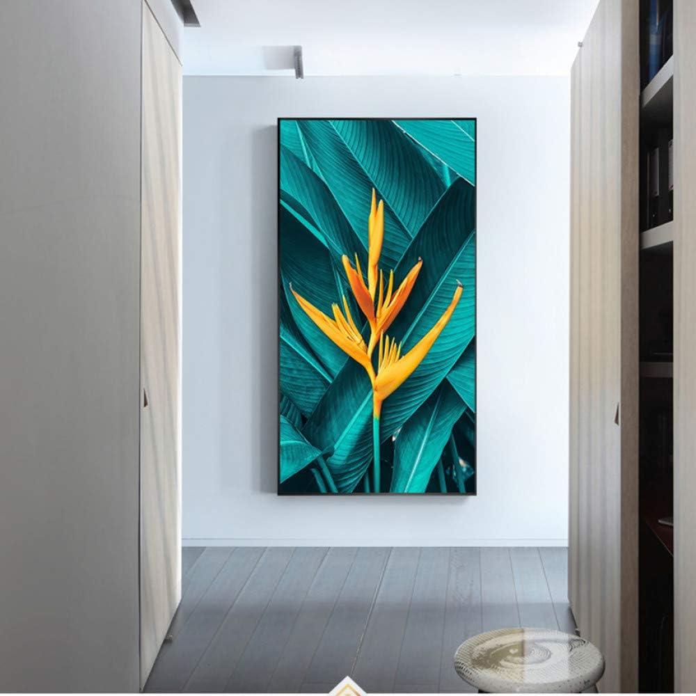 N / A Hoja Verde Flor Amarilla Lienzo Pintura Planta Arte de la Pared Imágenes para la Sala Inicio Carteles e Impresiones Sin Marco 70x120cm