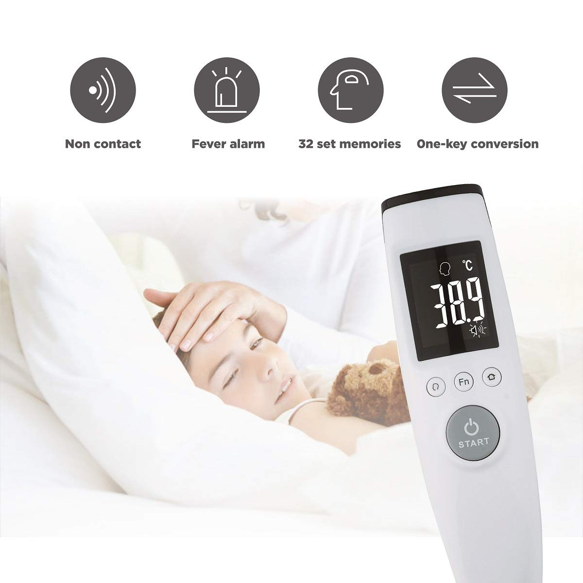 Non Contact Forehead Thermometer Digital Infrared Thermometer Medical Use for Baby,Child and Adult