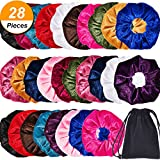 Bememo 28 Pieces Velvet Scrunchies Hair Ties Hair Elastics Scrunchies Velvet Scrunchy Soft Elegant Hair Bands Headbands with Bag