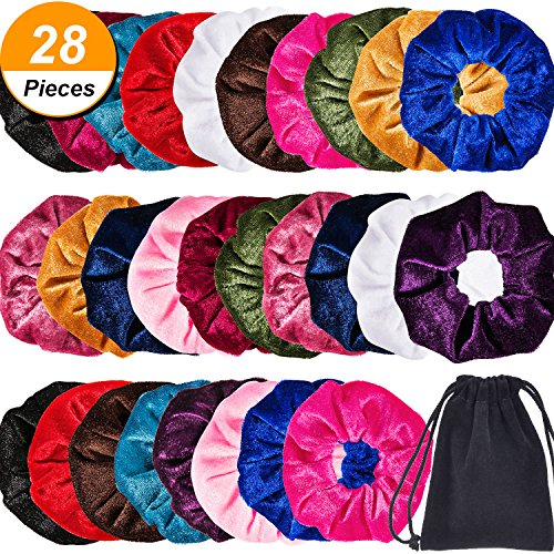 Bememo 28 Pieces Velvet Scrunchies Hair Ties Hair Elastics Scrunchies Velvet Scrunchy Soft Elegant Hair Bands Headbands with Bag by Bememo