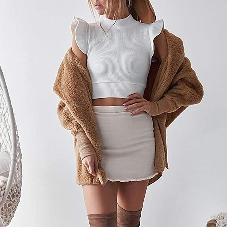 OverDose mujer SeñOras con Capucha Abrigo Mullido Moda Chaqueta De Invierno Cardigan Mejor Venta Abrigo Outwear Jumper Hairy Invierno Abrigo