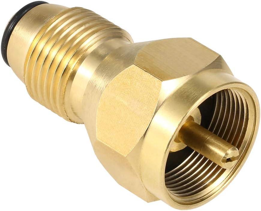 Lixada Adaptador de Tanque de Gas Pol Adaptador de Rellenar Propano de Sólido Latón Regulador de GLP Válvula de Seguridad para 1 LB Cilindro