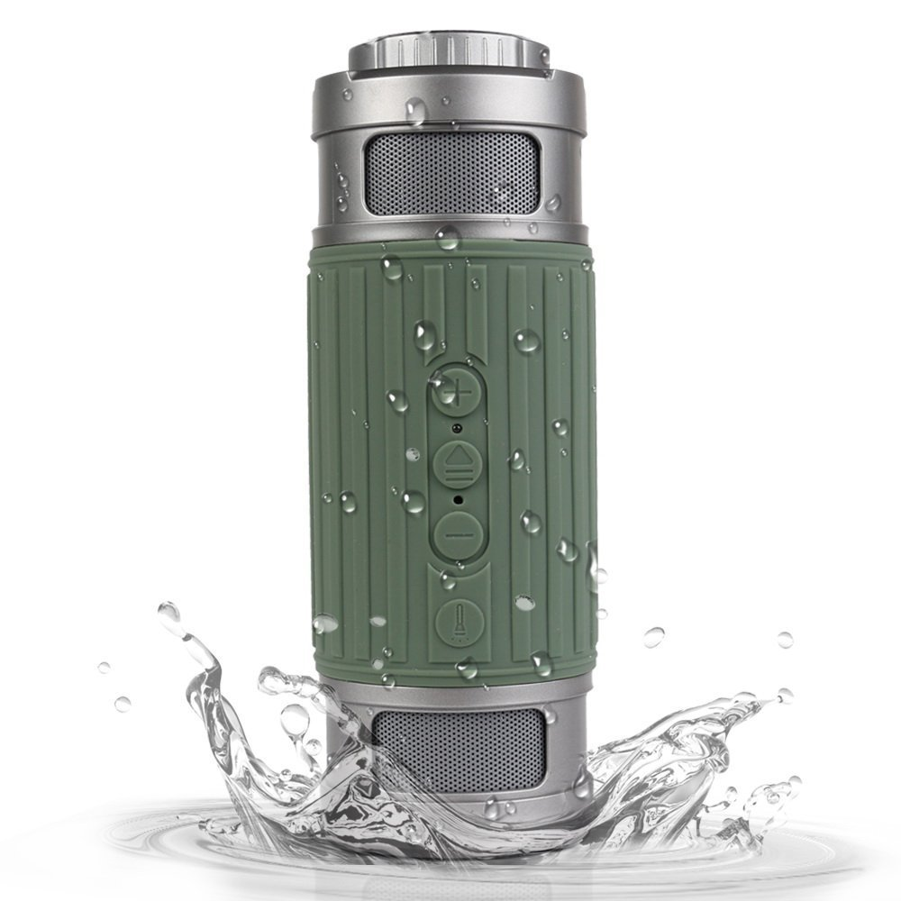 Bluetooth Speaker, Waterproof Outdoor Portable Wireless Bluetooth Speaker 6W with Built-in Microphone TF Card Flashlight Strong Bass Stereo Sound for Android, iPhone, Car Audio by sanwo