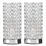 Pair of - Modern Polished Chrome & Clear K9 Crystal Jewel Cylinder Touch Table Lamp