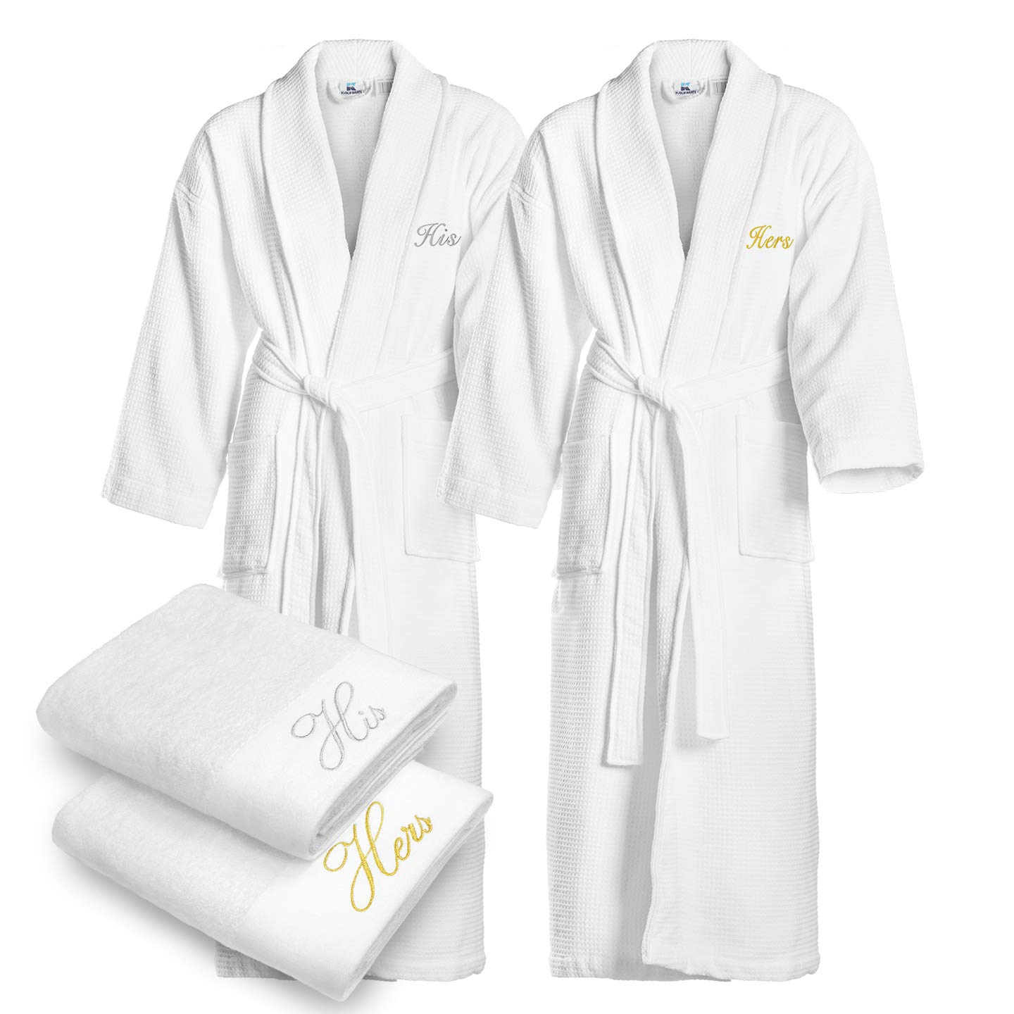 Kaufman - Terry Cloth Bathrobes 100% Cotton - His and Hers Embroidered Waffle Shawl Set of Robes with His and Hers White Towel Set 30''x58'' 4-PK