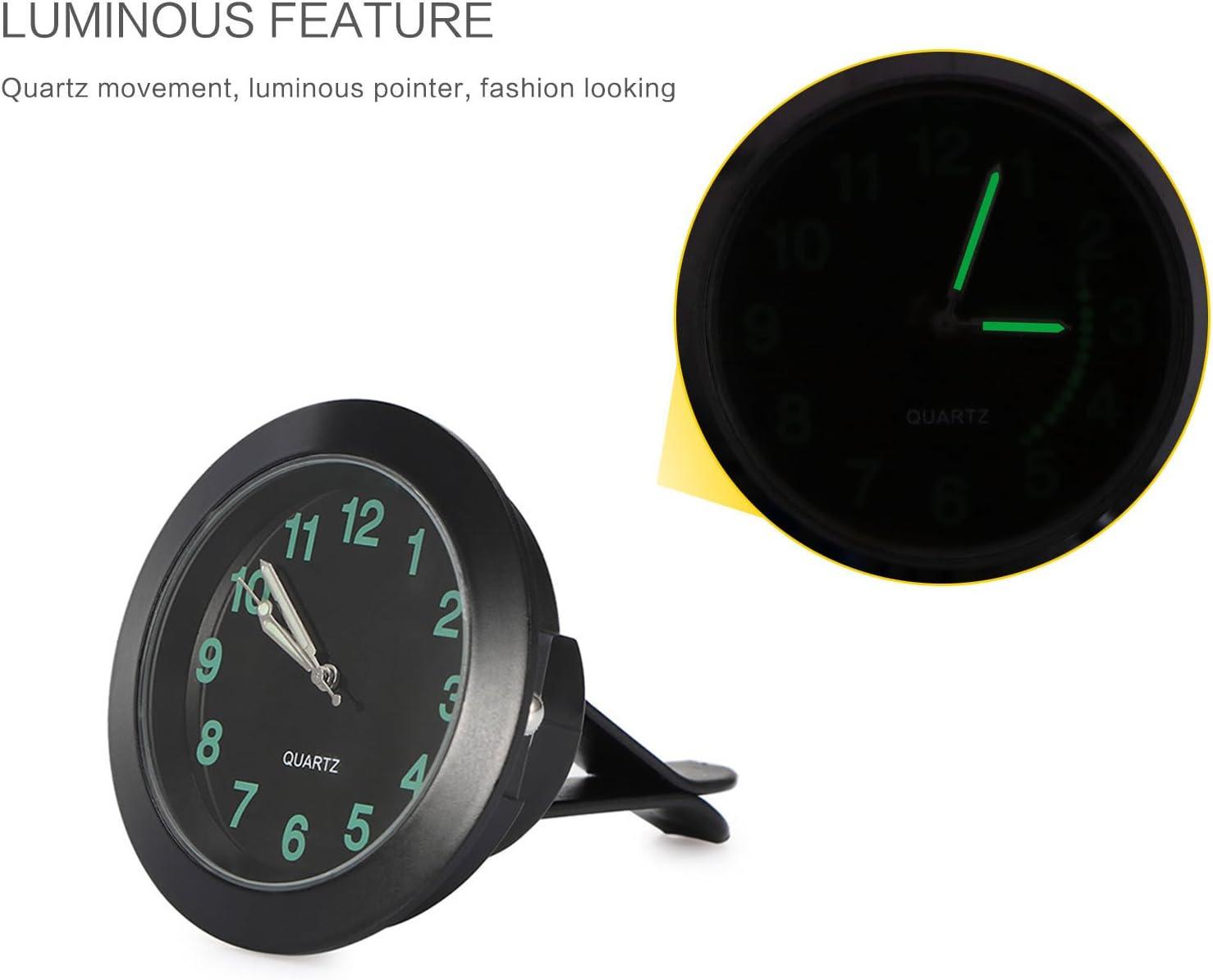 OurLeeme Car Air Vent Clip Clock Automobile Luminous Dashboard Clock Round Analog Quartz Clock Luminous Stick-On Clock with Clip Night Display Black