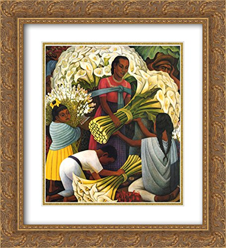 The Flower Vendor 2x Matted 20x24 Gold Ornate Framed Art Print by Diego Rivera