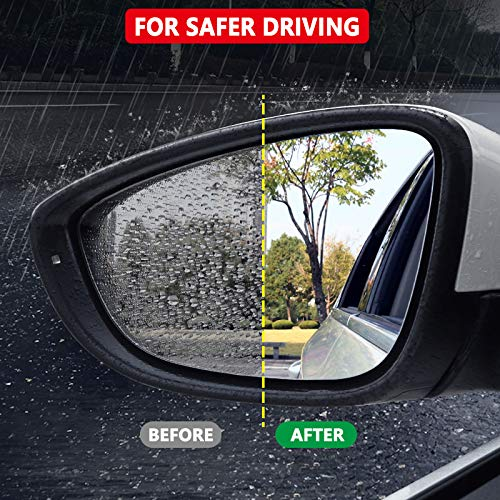 Lecone Rainproof Car Rearview Mirror Sticker 2 PCS Anti-Fog Anti-Glare Anti-Mist Anti-Scratch Protective Removable Transparent HD Nano Coating Waterproof Film for Vehicle Motorbike Rainy Day