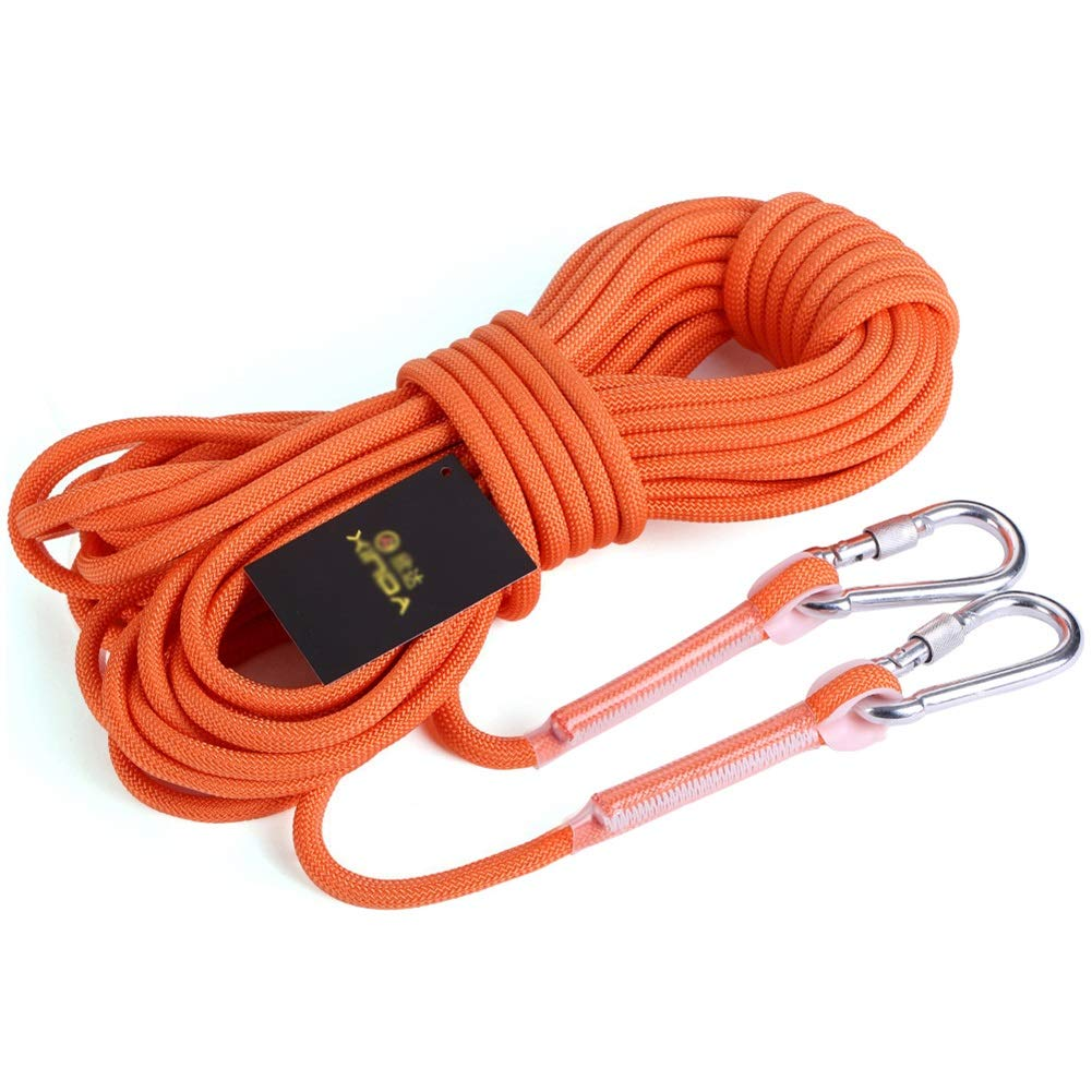 クライミングロープ クライミングロープ、10メートル/ 20メートル/ 30メートル/ 40メートル/ 50メートル8ミリメートル屋外クライミングサバイバルエスケープロープ、カラビナ付き高強度コード (Size : 50m) 50m  B07T2BLHQV