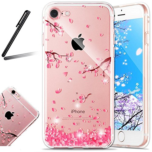 6S Case,iPhone 6 Case,SKYMARS iPhone 6S Cover Clear Ultra Thin Built-in Diamond TPU Gel Bumper Rubber Protective Resistant Frame Cover Silicone Skin Case for iPhone 6 / 6S 4.7 inch Cherry blossoms