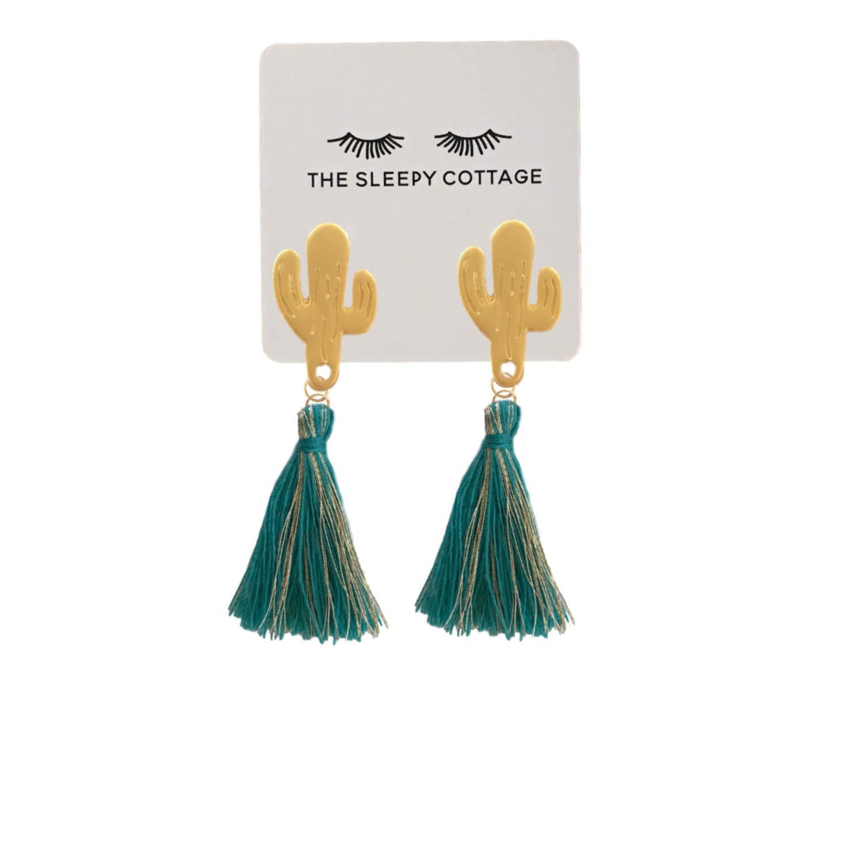 Gold and Teal Saguaro Cactus Tassel Earrings
