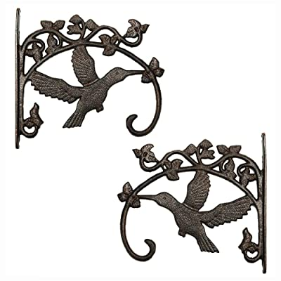 Sungmor Cast Iron Plant Hanger Wall Hooks - Heavy Duty Hanging Basket Brackets - Hummingbird Shape & 26.5CM & 2PC Brown - Decorative Wall Hangers for Planters Lanterns Bird Feeders Houses Wind Chimes : Garden & Outdoor
