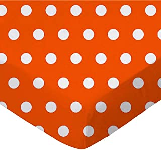 product image for SheetWorld Fitted 100% Cotton Percale Play Yard Sheet Fits BabyBjorn Travel Crib Light 24 x 42, Polka Dots Orange, Made in USA