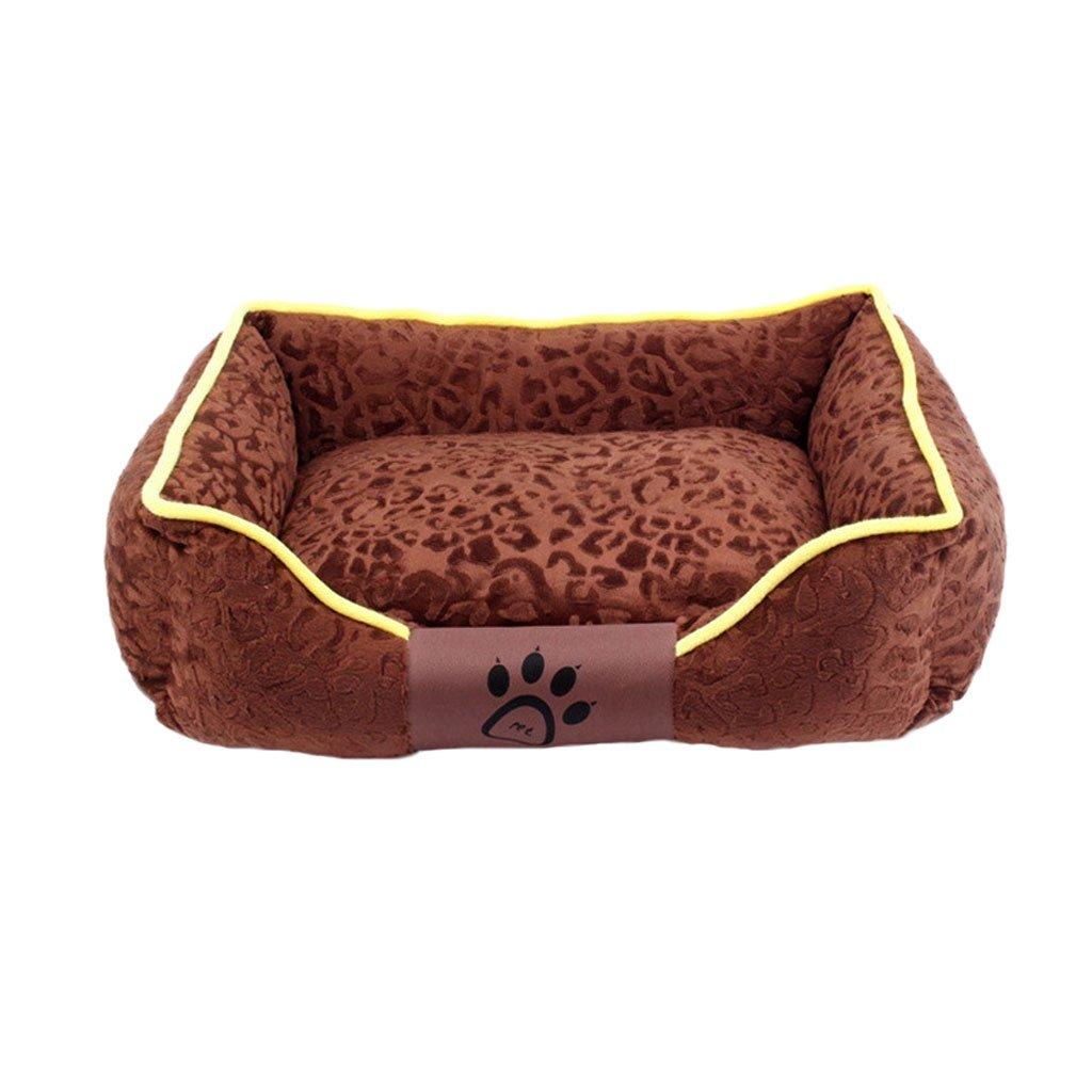 M GHMM Pet bed Short plush dog nest soft and comfortable breathable waterproof non-slip durable multi-color optional A3 (Brown) Pet bed (Size   M)