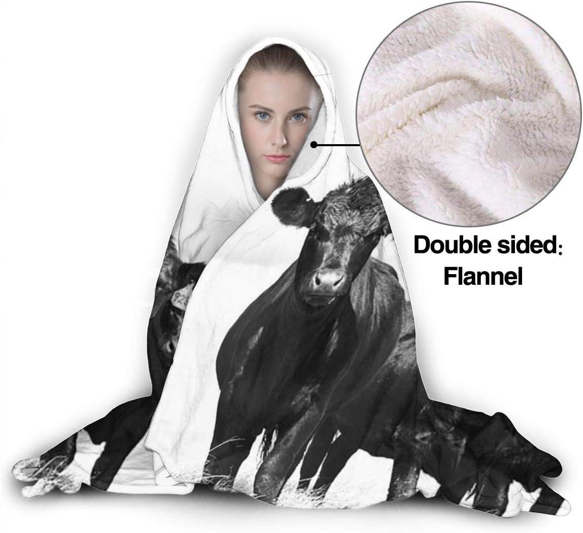 AUISS Warm Hoodie Blanket Cow Grassland Hooded Throw Wrap Cape Cloak Robe Teens Thermal School Travel Shawl Flannel Fleece with Sleeves