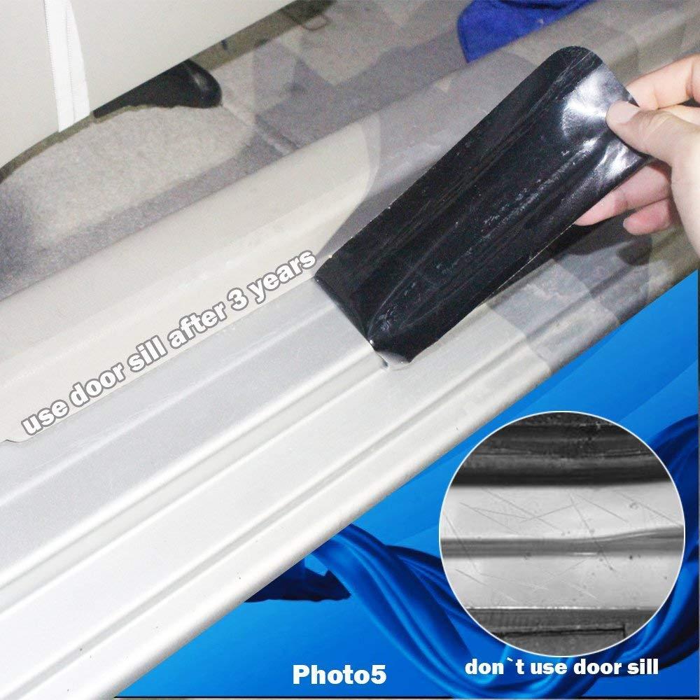 Tuqiang Auto Battitacco Protezione Vinilica Adesiva in Fibra Di Carbonio Etichetta per C2 C3 C4 C4L C5 C6 C4 picasso C4 Aircross Blu 4 Pezzi