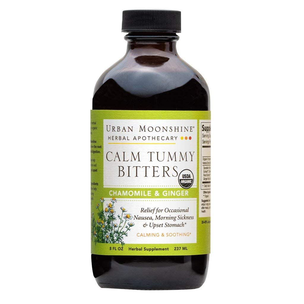Urban Moonshine Calm Tummy Digestive Bitters, Organic Herbal Supplement with Chamomile & Ginger, 8 FL OZ (Pack of 2)