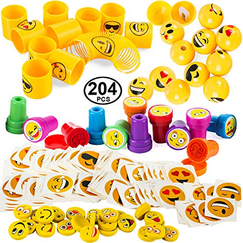 Emoticon Party Favors - Prizes for Kids - Emoticon Party Supplies - Goody Bag Filler by Tigerdoe (204 Pc Party Favors) -
