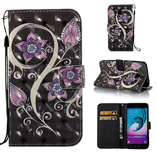 Galaxy J3 2016/J3/J310 Case,PU Leather Shock Proof Bumper Cover Lightweight Kickstand Case with Magnetic Card Holder Birthday Xmas Halloween Gift for Boy Girl for Samsung Galaxy J3 2016/J3/J310-Purple -