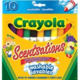Crayola 10 Scentsations Washable Broad Line Markers, Scented Markers, School and Craft Supplies, Drawing Gift for Boys and Girls, Kids, Teens Ages  5, 6,7, 8 and Up, Holiday Toys, Stocking Stuffers, Arts and Crafts