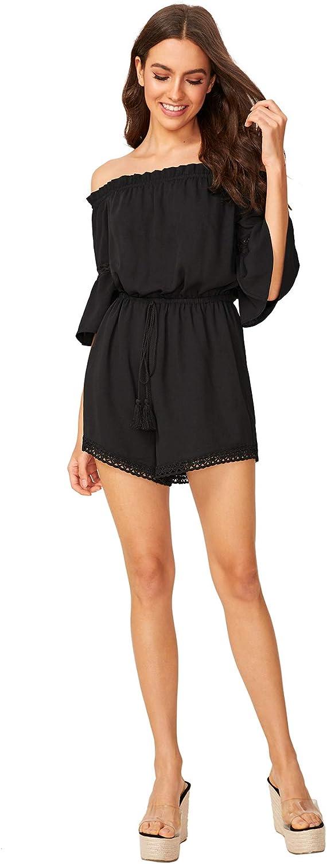 Floerns Womens Off The Shoulder Romper 3//4 Sleeve Summer Playsuit Jumpsuits
