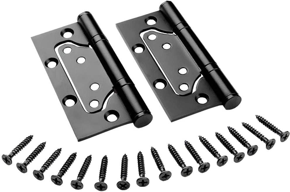 """Liyafy 2Pcs Black Stainless Steel Hinges 4 x 4"""" Non-Mortise Mute Door Hinges for Heavy Weight Door, Combined Design"""