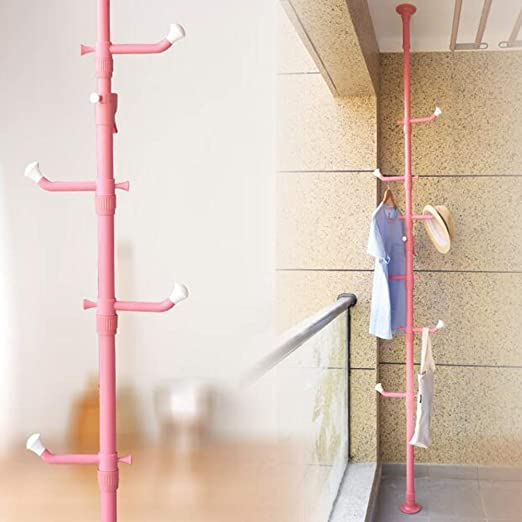 Color : Black MEIDUO Coat Racks Standing Clothes Laundry Drying Rack Grament Coat Hanger Organizer Floor to Ceiling Adjustable Metal Corner Tension Pole Spce Saver