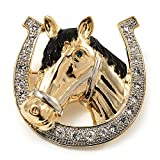 Horse Head & Horse Shoe Crystal Brooch (Gold & Silver Tone)