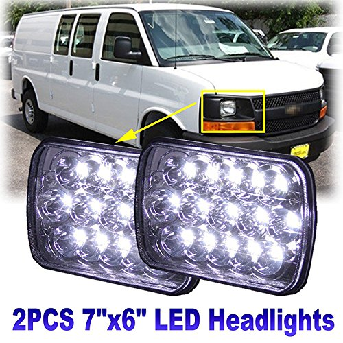 t Pair Sealed Hi/Lo Beam for 1996-2017 Chevy Express Cargo Van 3500-6000K 45W Super White Light - 2 Year Warranty (Chevy Van Headlight)