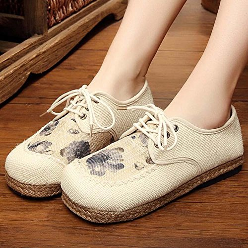 Linen Cloth Skid Breathable Casual Shoes 40 Flat Shoes Floral Pump 35 Pastoral Comfortable Round Beijing Old Size Shoelace Grey Women Eu Anti Toe dzZxxtaTw
