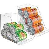 mDesign Juego de 4 cajas organizadoras para la cocina - Contenedores de plástico ideales para los armarios - Botelleros apila