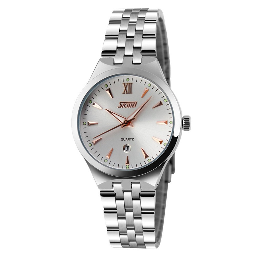 Skmei fashion men's steel calendar waterproof sports simple business quartz watch (Female Rose gold)
