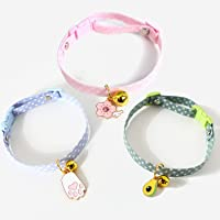 Cat Collar with Bell 3 Pcs, Adjustable Pet Collar Strap Cat Quick Release Safety Buckle for Cats Kitty Kitten Small Dogs