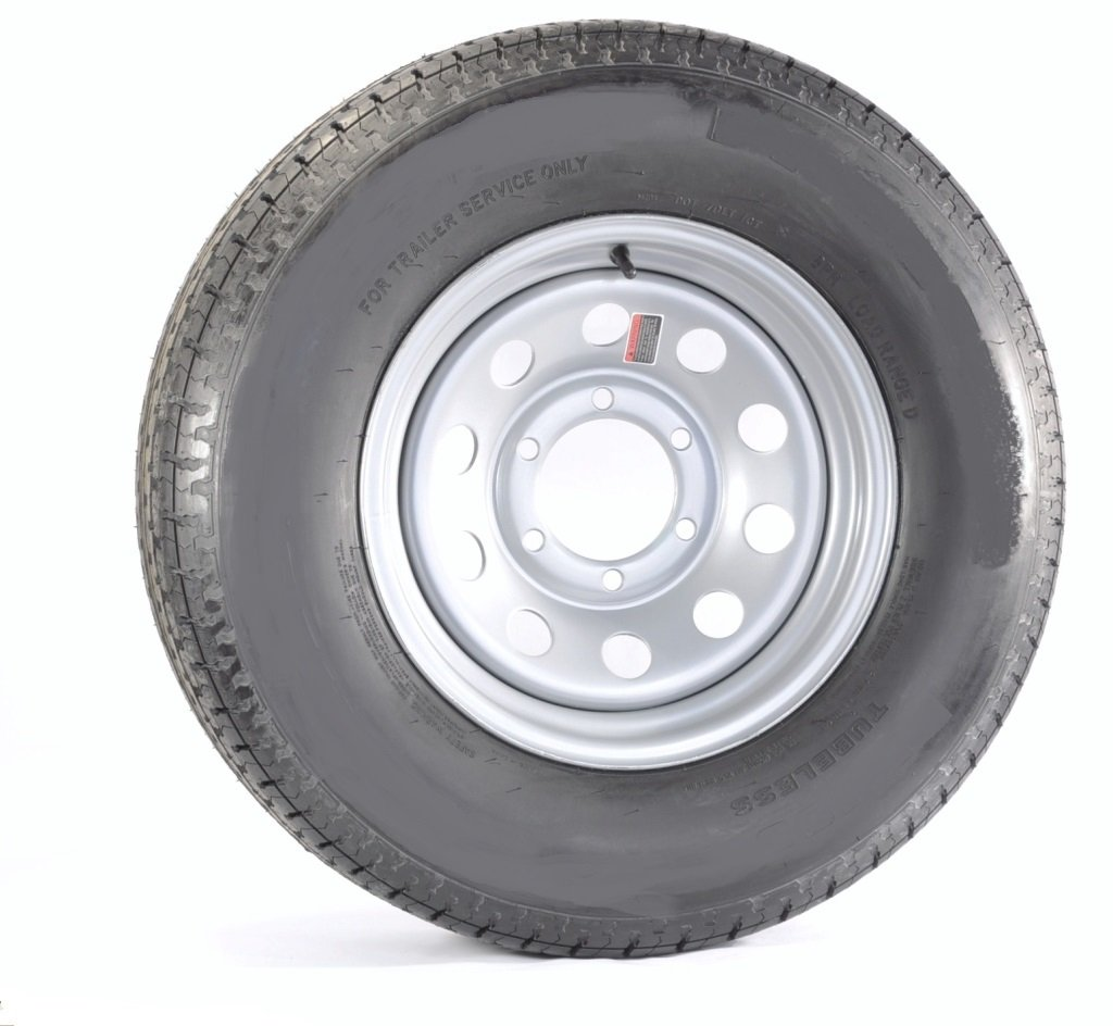 Radial Trailer Tire On Rim ST205//75R15 D Load Range 6-5.5 Silver Modular Wheel